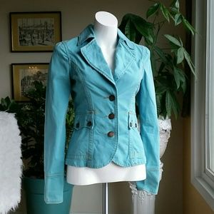 Anthropology Twill 22 turquoise jacket size Small